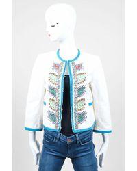 Moschino - White Multicolour Cotton Linen Beaded Three Quarter Sleeve Jacket - Lyst