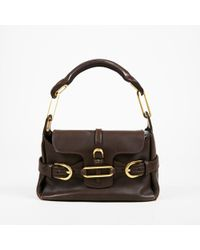 "Jimmy Choo - Brown & Brushed Gold Tone Leather Small ""tulita"" Shoulder Bag - Lyst"