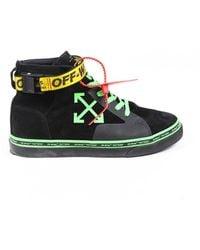Off-White c/o Virgil Abloh Industrial Black Green Suede High Top Sneakers Men's