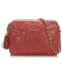 Chanel Cc Lambskin Leather Crossbody Bag - Red