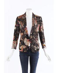 Dries Van Noten Floral Embroidered Blazer Jacket Black/multicolor/floral Print Sz: S