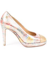 Chanel Floral Brocade Cc Platform Court Shoes - Metallic