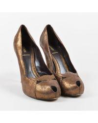Fendi - Metallic Brown Suede Peep Toe Platform Court Shoes - Lyst