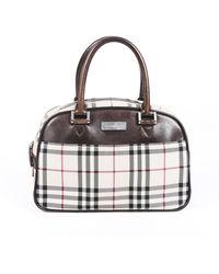 Burberry - Checked Canvas Handbag - Lyst