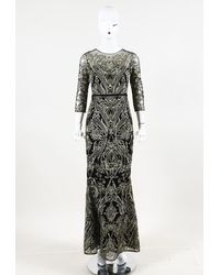 Marchesa notte Embroidered Lace Evening Gown Black/gold Sz: Xs