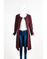 Chanel 01a Burgundy Cashmere Collarless 'cc' Button Down Long Jacket - Multicolour
