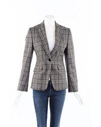 Kiton Plaid Wool Blazer Jacket Black/gray Sz: M - Grey