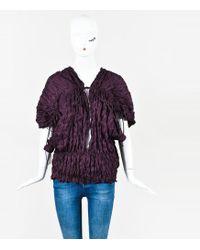 Juan Carlos Obando - Nwot Purple Crinkled Silk Draped Tie Blouse - Lyst