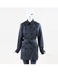Burberry Brit Blue Nylon Belted Trench Coat