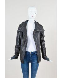 Rick Owens - Grey Leather Hooded Moto Jacket - Lyst