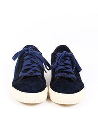 Chanel Velvet Low Top Trainers Blue/white Sz: 5.5