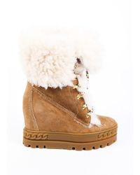Casadei Gran Sasso Suede Shearling Wedge Boots Brown Sz: 5.5