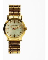 8af9b1ab5d493b Burberry Gold Tone Stainless Steel & Sapphire Crystal