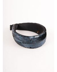 Chanel Navy Sequin Embellished Thick Headband - Blue