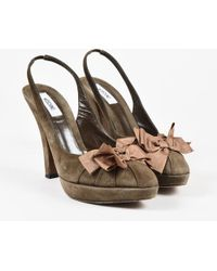 Moschino - Olive Green Suede Pink Bow Slingback Platform Pumps - Lyst