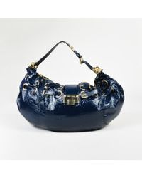 "Jimmy Choo - Blue Patent Leather Gold Tone ""raina"" Shoulder Bag - Lyst"