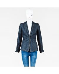 Jean Paul Gaultier - Blue Denim Pleated Structured Jacket - Lyst