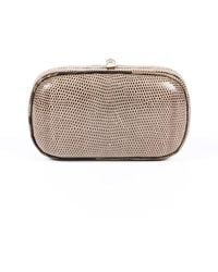 Bottega Veneta Vintage Snakeskin Clutch Bag Brown Sz: M
