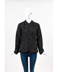 Chanel Metallic Alpaca Knit Cardigan Black/brown/metallic/multicolor Sz: L