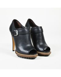 "Belstaff - Black Grained Leather ""shaftesbury"" Peep Toe Court Shoes - Lyst"