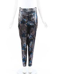 Peter Pilotto Lurex Jacquard Pants Blue/silver/floral Print Sz: M