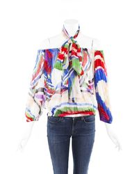 Chanel Printed Silk Off Shoulder Top Multicolor Sz: S