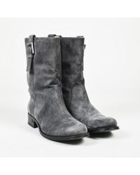 Chanel - Gray Suede Low Heel Buckled Mid Calf Boots - Lyst