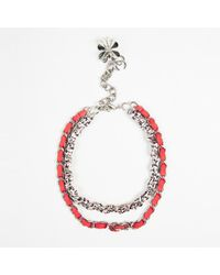 Chanel - Pink Multi Tweed Suede Silver Tone Metal Chain Link Necklace - Lyst