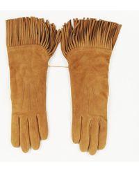 Ralph Lauren - Brown Suede Fringe Gloves - Lyst