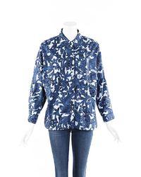 Burberry Blue Floral Cotton Blouse Blue/white/floral Print Sz: M