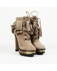 Brian Atwood - Brown Suede Fringe Ankle Boots - Lyst