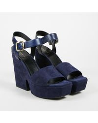 "Céline - Nwot ""navy"" Blue Suede & Leather Platform Wedge Sandals Sz 40 - Lyst"