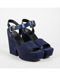 """Céline - """"navy"""" Blue Suede & Leather Platform Wedge Sandals - Lyst"""