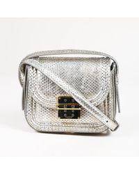 "Lanvin Metallic Silver Python Mini Crossbody ""lala"" Flap Bag"