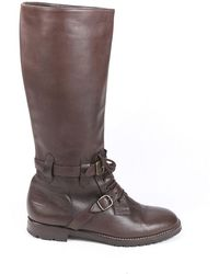 Manolo Blahnik Leather Knee High Lace Up Boots Brown Sz: 7