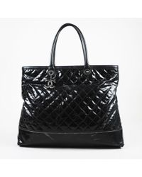 """Chanel - Black Coated Canvas & Leather Quilted """"rue Cambon"""" Tote Bag - Lyst"""