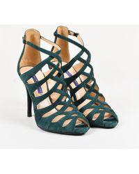 Ralph Lauren - Green Suede Peep Toe Strappy High Heel Sandals - Lyst