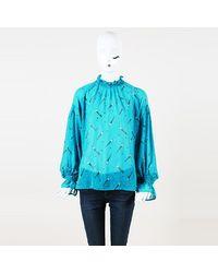 MUVEIL Cigarette Print Long Sleeve Blouse - Blue