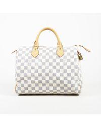 "Louis Vuitton - ""speedy 30"" Damier Azur Coated Canvas Leather Bag - Lyst"