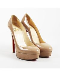 "Christian Louboutin - Beige Patent Leather ""bianca"" Platform Court Shoes - Lyst"