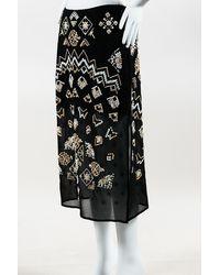 Altuzarra Zeramika Beaded Embroidered Midi Skirt - Black