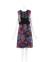 Burberry Prorsum Floral Lace A-line Dress Purple/multicolor/floral Print Sz: M