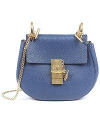 Chloé Mini Drew Shoulder Bag Blue Sz: M