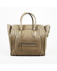 """Céline - """"camel"""" Brown Calfskin Leather Winged Mini """"luggage Tote"""" Bag - Lyst"""
