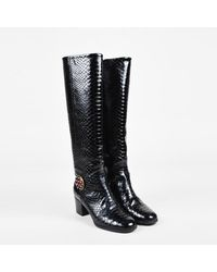 Chanel Python Brooch Block Heel Knee High Boots - Black