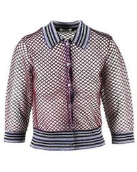 Jourden - Multicolour Metallic Fishnet Striped Polo Cardigan - Lyst