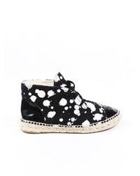 Chanel Paint Splatter Cc Espadrilles Black/white Sz: 7