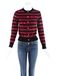 Chanel Chainlink Striped Cashmere Cardigan Black/pink Sz: S - Red