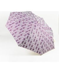 Moschino - X Drops Purple Cream & Grey Logo Print Umbrella - Lyst