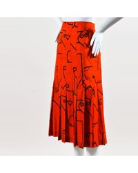 Calvin Klein Collection Red Black Cotton Printed Pleated Skirt